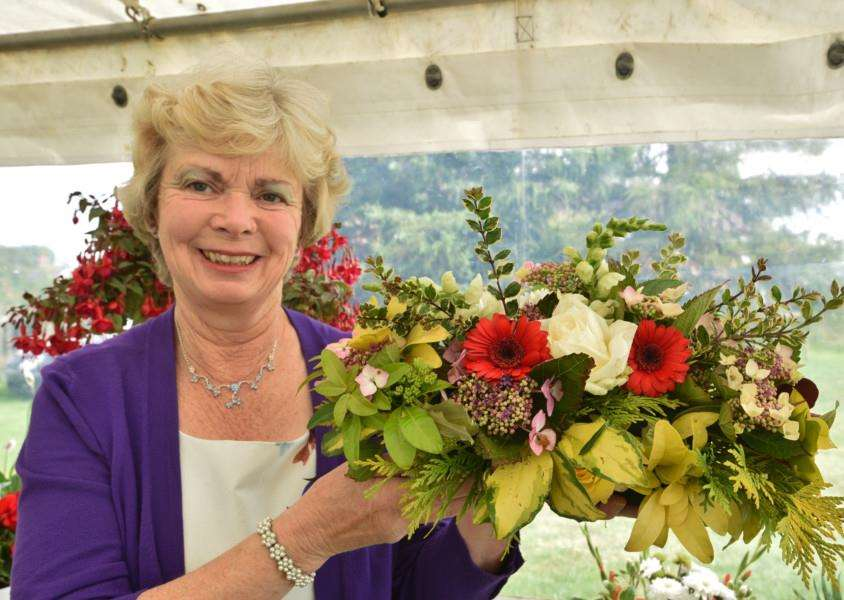 Uppingham Produce Show. Hilary Dawe with her flowers EMN-150208-212804009
