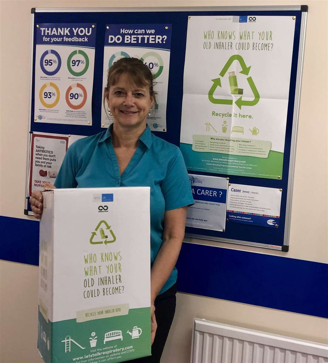 Sarah Bailey with the collection box at Bourne Galletly Medical Practice