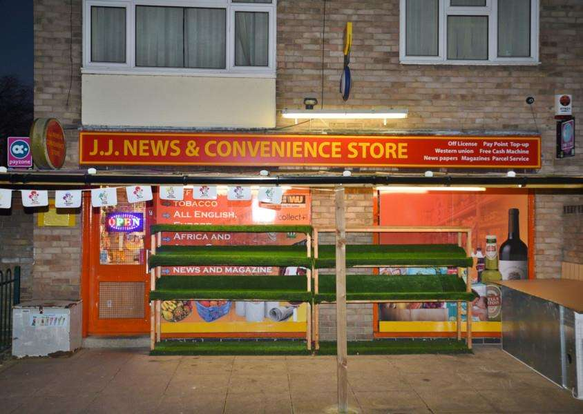The naked robber at JJ News store at Paston. Exterior of shop EMN-160314-230952009