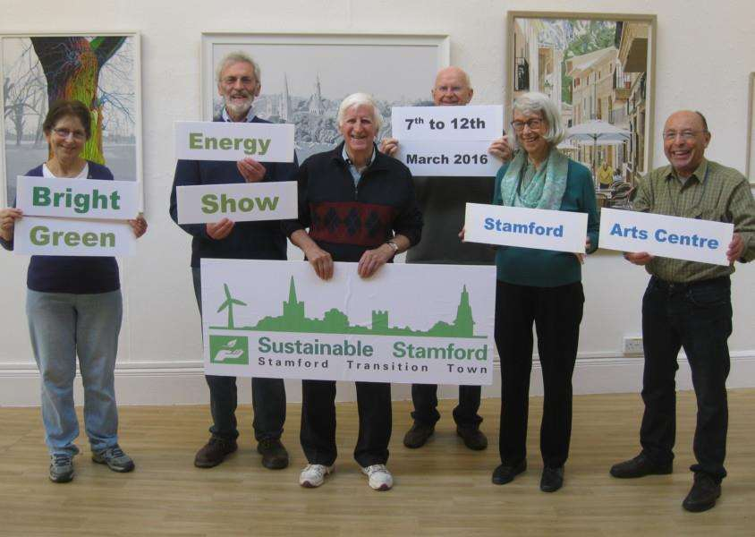 Members of the Sustainable Stamford steering group with their new logo at the launch of the Bright Green Energy Show.'From left, Evelyn Landergreen, John Yard, John Polkinghorne, Peter Lemmon, Val Harvey and Douglas Wenn. EMN-160302-135950001