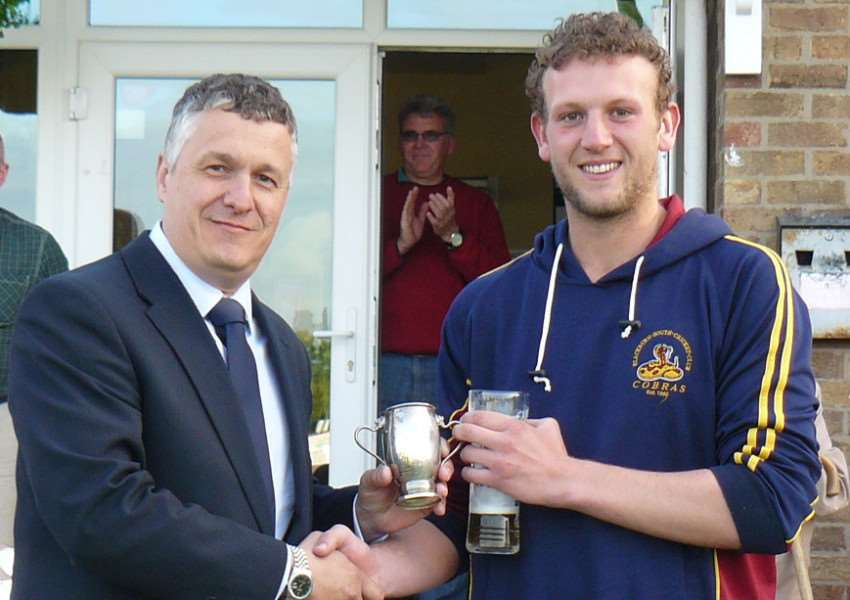 Lindum's Luke Robinson collects the man of the match award despite finishing on the losing side in the Winkworth Cup final EMN-150526-095845001