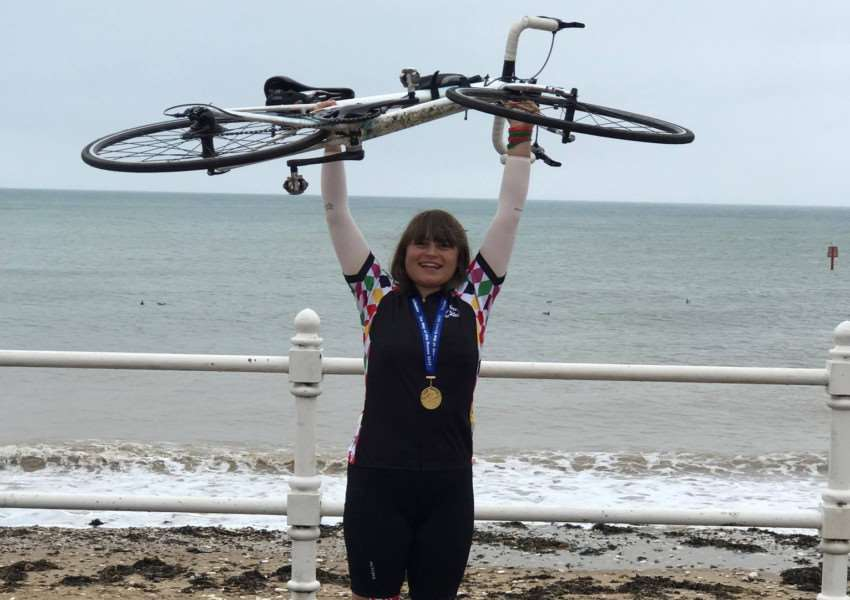 Deepings' student Harriet Spriggs at the end of her Coast to Coast, 170-mile, three-day bike ride that raised �900 for #Root4Ryley. Photo supplied.