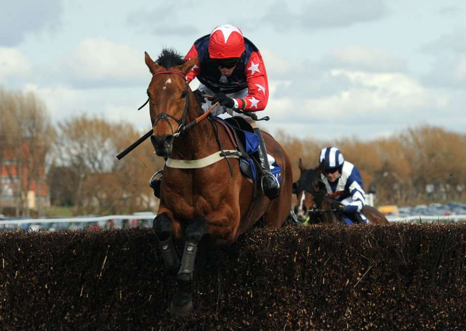File photo dated 20-04-2013 of Godsmejudge ridden by Wayne Hutchinson clearing the last to win the Coral Scottish Grand National Handicap Steeple Chase during day two of the 2013 Coral Scottish Grand National meeting at Ayr Racecourse, Ayr. PRESS ASSOCIATION Photo. Issue date: Saturday April 4, 2015. Godsmejudge has been laid out for this season's Crabbie's Grand National and for syndicate manager David Dennis success in the Aintree marathon would represent his greatest moment in racing. See PA story RACING National Godsmejudge. Photo credit should read Anna Gowthorpe/PA Wire. EMN-150804-112318001