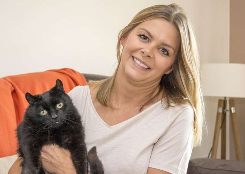 Quazi the missing cat returned home after four years with owner Katie Beanland'Photo: Lee Hellwing