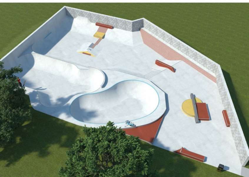 The final design of Bourne Dimension Skatepark on the Abbey Lawn, by Wheelscape.