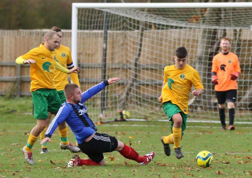 Action from Oakham United Reserves' 2-1 loss to Houghton Rangers in the Leicestershire Intermediate Cup. Photo: Geoff Atton EMN-160911-104012001