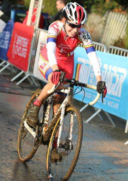 PODIUM TOPPER: Maddie crosses the finish line in Derby to clinch the National Trophy under-16 girls cyclo-cross series. Photo supplied.