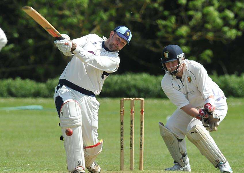 Cricket action from Stamford CC v Burghley Park. Stamford batsman Nick Cowley EMN-150516-184625009