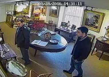 Police want to speak to these men in connection with the theft of a rare urn