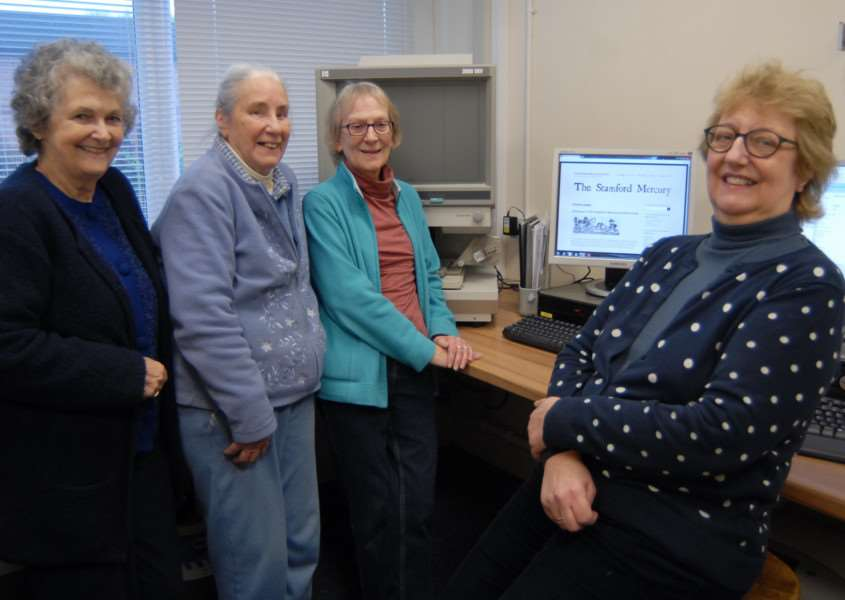 Stamford Mercury Archive Trust volunteers, from left, Carol Smith, Maureen Sibborn, Fran Heeley and Trust secretary Sarah Critchard with the new website