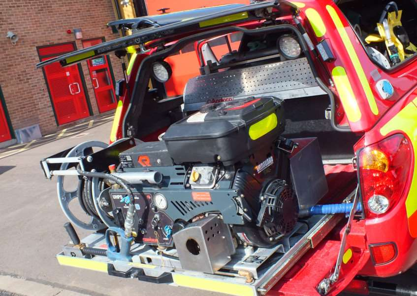 The tactical response vehicles (TRVs) carry a range of equipment including a sef contained high pressure water pump system EMN-150921-140257001