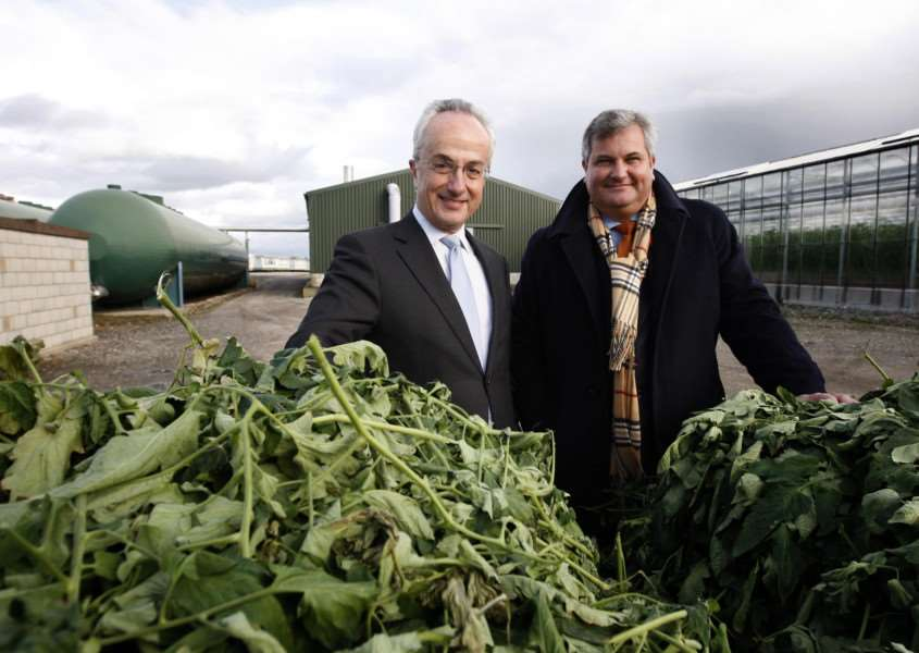 Philip Green, ex-chief executive of United Utilities (left) and Baron Mark Price, former managing director of Waitrose, at an anaerobic digestion plant in Cheshire. Photo: Jon Super/PA Wire MJS.