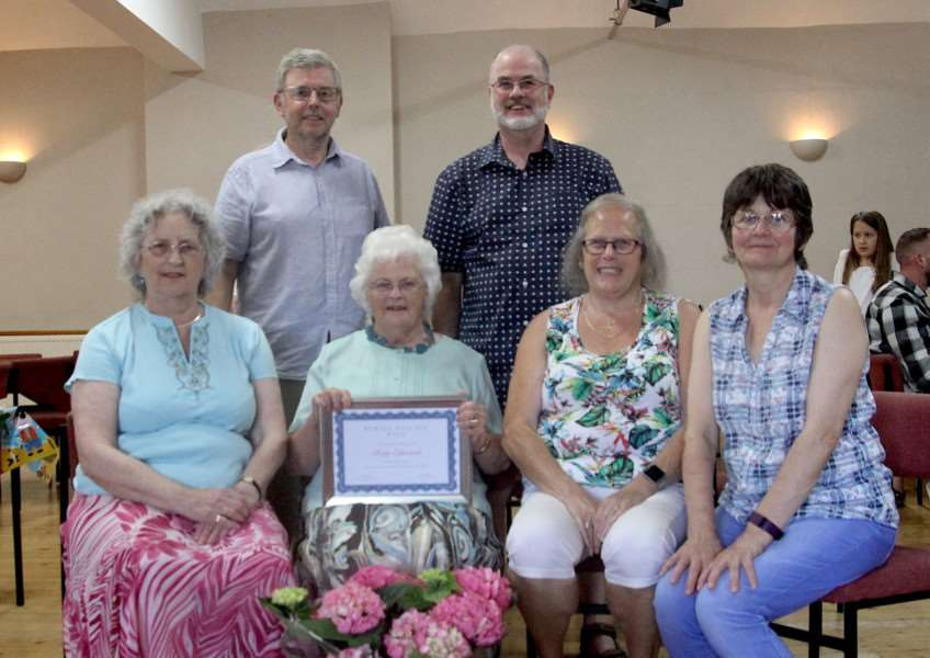 Betty Edwards, centre with her president's certificate, and committee members, from left, Lynda Bellairs, Paul Huddleston, Nick Bellairs, Anne Virgin, and Sandy Collins