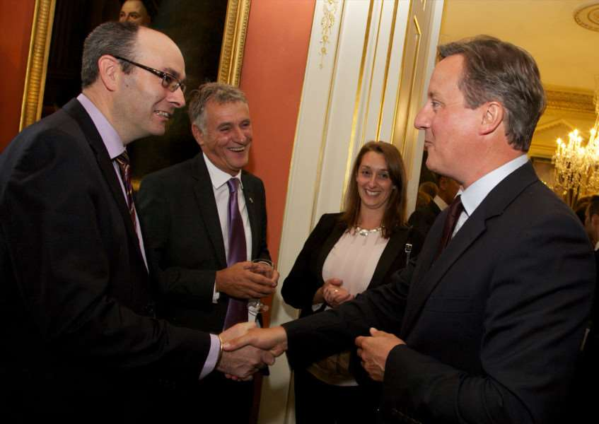 Catmose College principal Stuart Williams meets Prime Minister at 10 Downing Street. EMN-150921-171854001