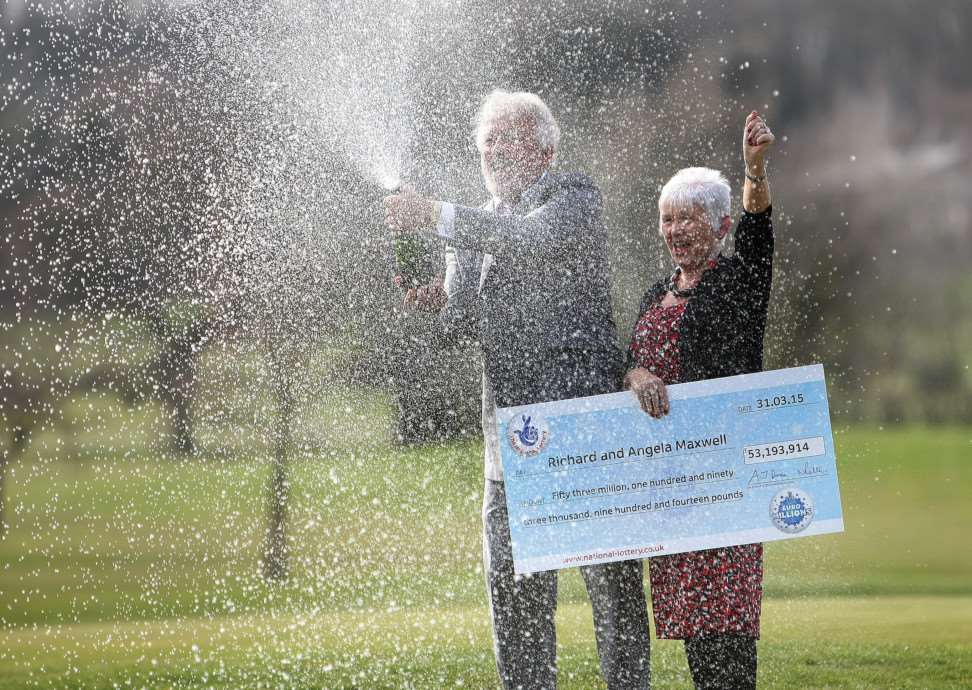 Richard and Angela Maxwell celebrate winning �53 million on the EuroMillions.
