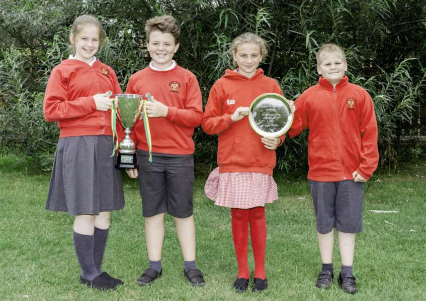 From left . English Martyrs Catholic Voluntary Academy pupils, Libby Asher, Teddy Charlesworth, Kahlen Trigg and Bertie Gabbert who were party of the team which won the Primary School Games . By Lee Hellwing.