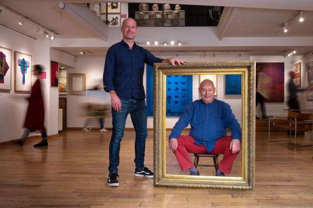 From left, Jay Goldmark and Mike Goldmark, the gallery founder, in frame at Goldmark Gallery Uppingham