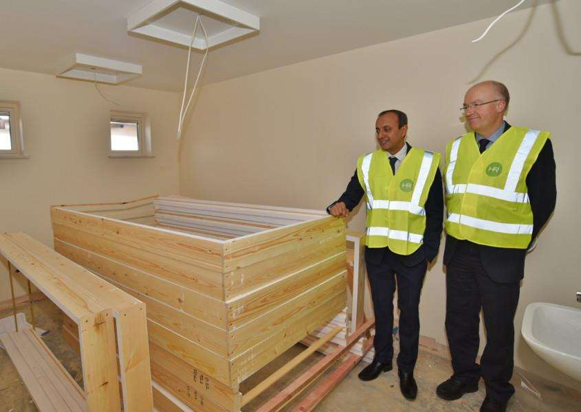Dr Majid Akram and NHS England deputy medical director Dr Mark Sanderson view one of the new surgical areas