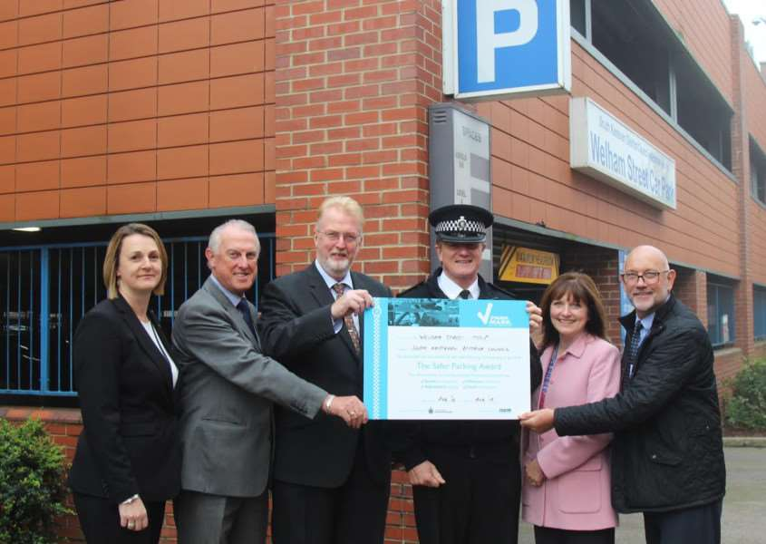 Pictured outside the Welham Street car park are, from left ' SKDC's facilities and car park co-ordinator Jeanette Hedison, Coun Nick Craft, Peter Gravells, Grantham Chief Inspector Gary Stewart and Lincolnshire Police safer parking assessors Sally Picker and John Manuel.
