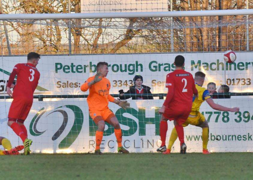 Bradley Wells scores the first-half equaliser. Photos by David Lowndes