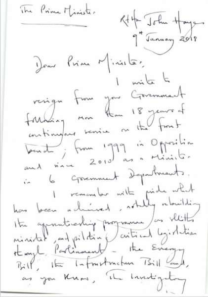The resignation letter penned by John Hayes MP as Minister of Transport.