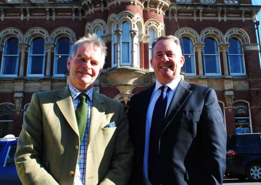 Leader of Lincolnshire County Council Martin Hill with Dr Liam Fox, the Minister for International Trade, on a visit to Grantham.