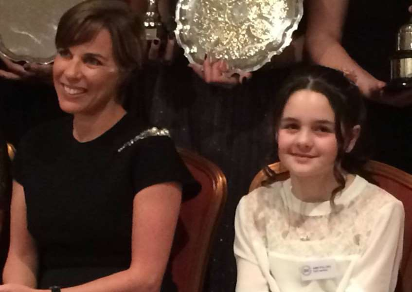 SISTERS OF SPEED: Abbi Pulling sits next to Williams F1 deputy team principal, Claire Williams at the BWRDC Awards in Warwickshire.