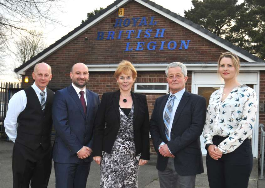 Long Sutton district councillors Jack Tyrrell (left) and Laura Eldridge (right) with Lincolnshire Police and Crime Commissioner candidates Marc Jones (second left) Victoria Ayling and Daniel Simpson before a hustings event held at Long Sutton Royal British Legion. Photo by Tim Wilson.