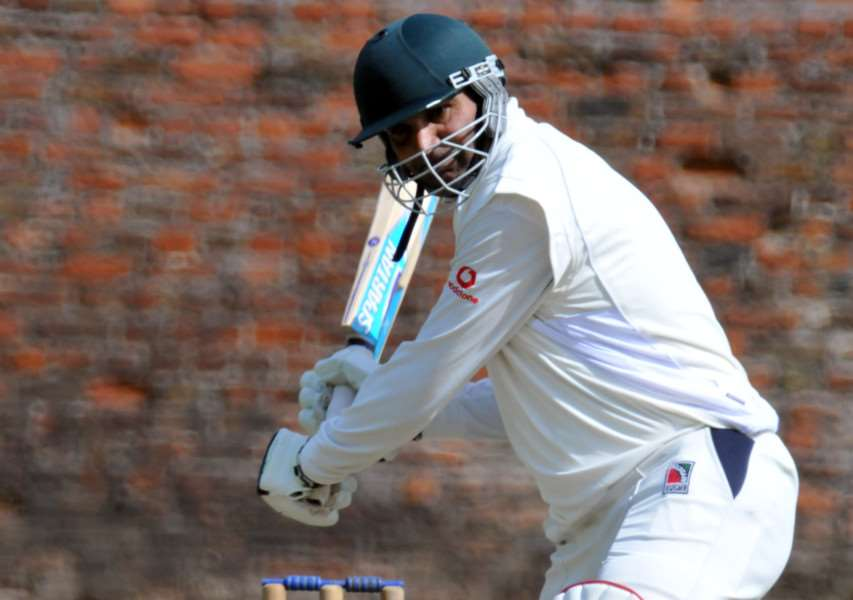 Ajaz Akhtar on his way to 71 for Market Deeping at Spalding.