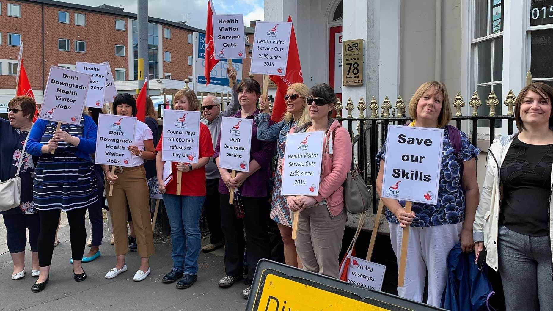 Health visitors under the Unite union gathered outside Lincolnshire County Council offices to demand pay rises (13825613)