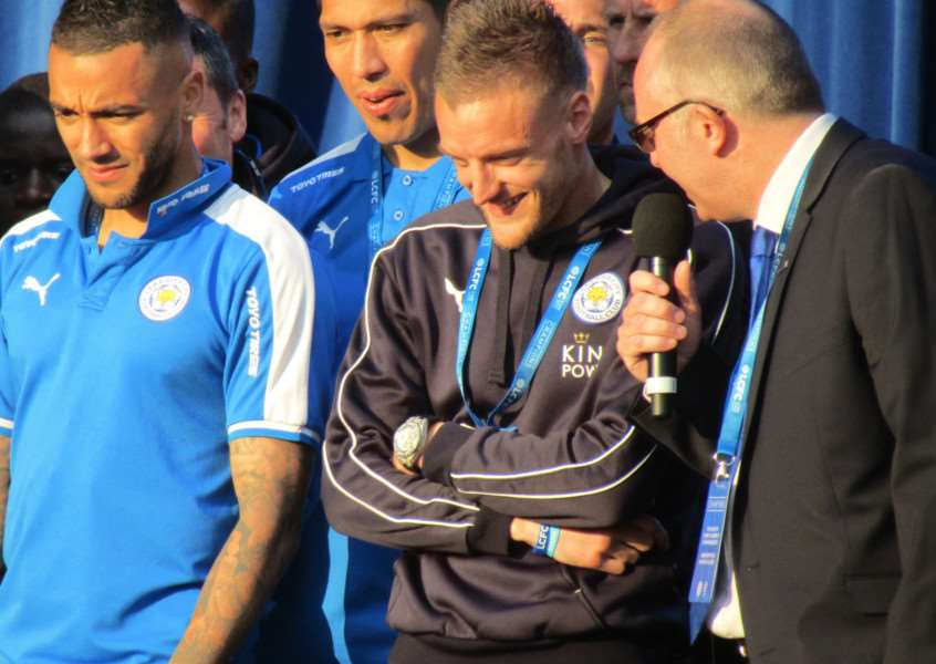 Leicester City striker Jamie Vardy is interviewed on stage at Leicester's Victoria Park to re-cap on the Foxes' incredible season EMN-160519-134339001