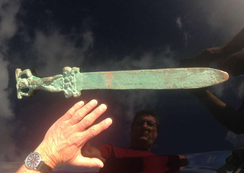 The Roman sword allegedly found in water just off the mysterious Oak Island, Nova Scotia. Photo: investigatinghistory.org