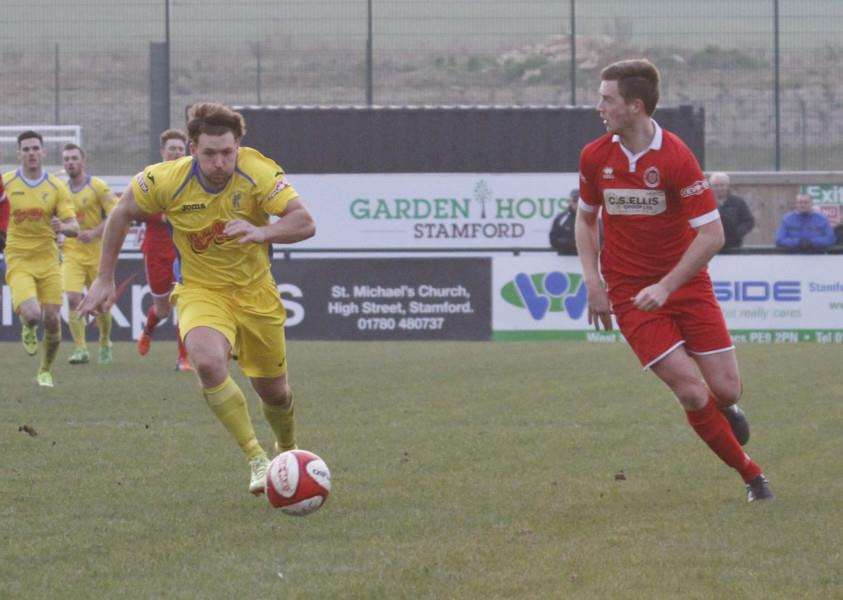 Action from Stamford AFC's win over Matlock Town. Photo: Geoff Atton EMN-160103-104233001