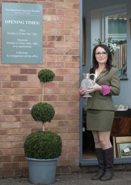 Jessica Wall, who has set up J W Auctioneers & Valuers at the Stamford Auction Rooms, Little Bytham.