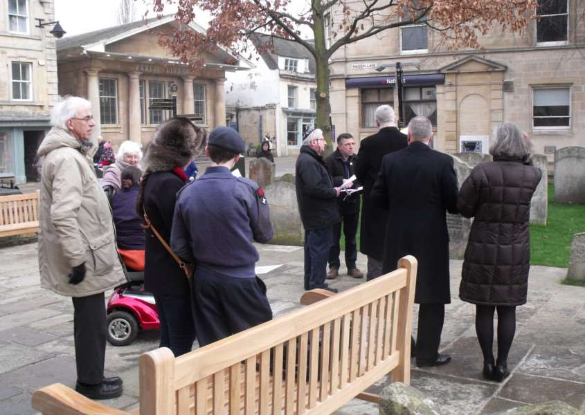 Members of the public gathered at the newly-refurbished St Michael's Churchyard