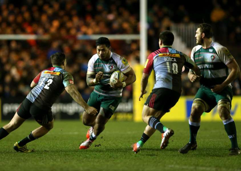 Leicester Tigers' Manu Tuilagi goes between Harlequins' Harry Sloan (left) and Ben Botica (right) during the Aviva Premiership match at Twickenham Stoop, London. Photo: Adam Davy/PA Wire. EMN-160223-090359001
