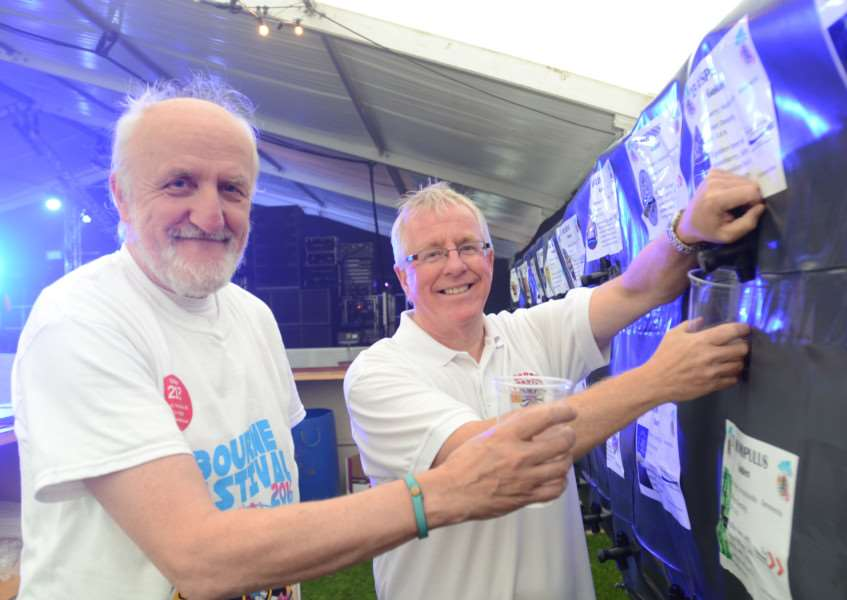 Steve Richens and Steve Jackson were among the volunteers working in the beer tent