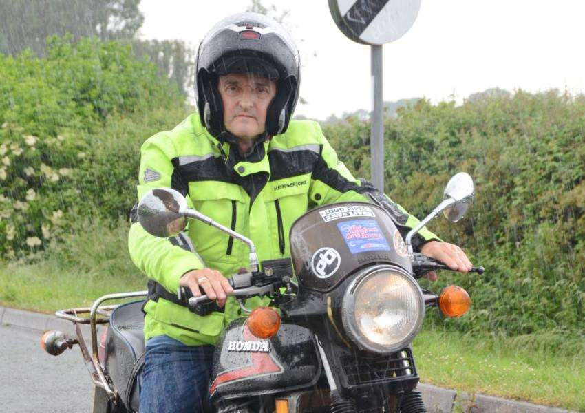 Richard Piper on his �350 motorcycle