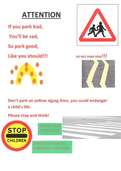 A poster encouraging parents to park safely around schools, designed by pupils from Langham Primary School for a Rutland police competition. EMN-150825-162852001