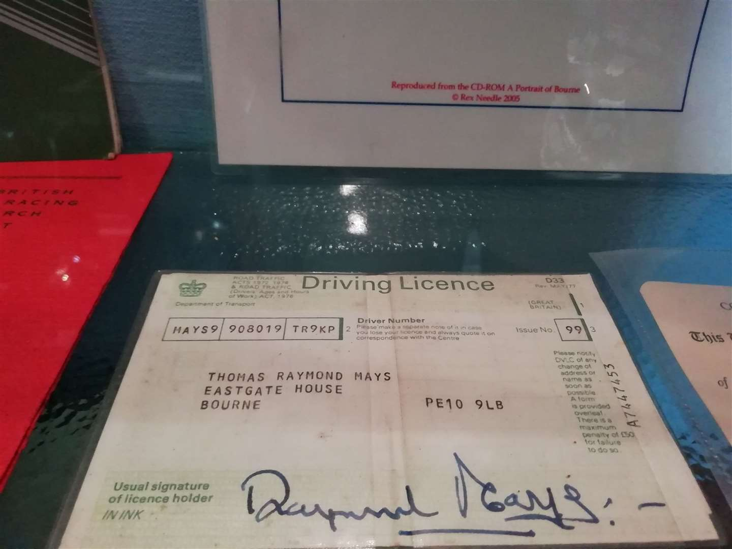 Raymond Mays' driving licence
