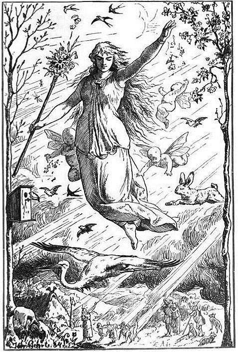 Ēostre, depicted here by Johannes Gehrts, was a Germanic goddess also worshipped by Anglo-saxon Pagans