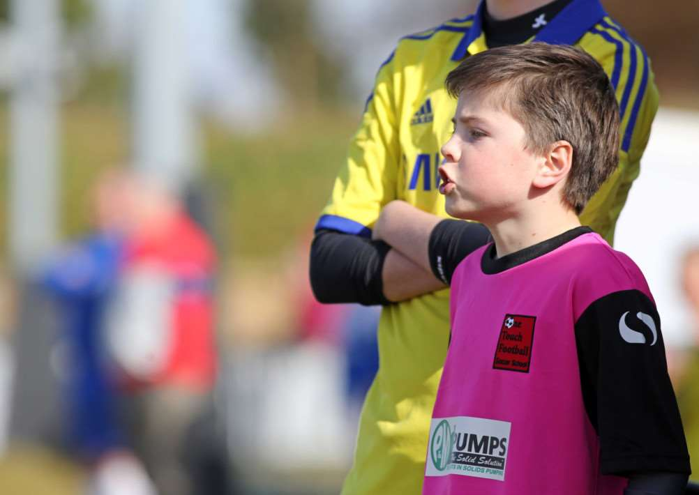 Charity match for the Seb Goold Trust. Seb shouts instructions to his team. Photo: Joe Dent. EMN-150323-161501001