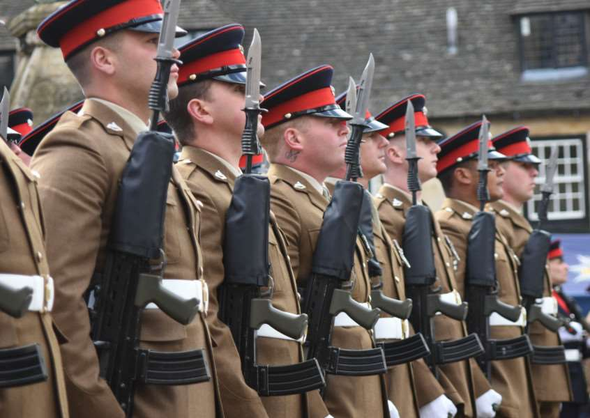 Uppingham Town Council bestows the Freedom of Entry honour on the 2nd Batallion of the Royal Anglian Regiment'Photo: Alan Walters EMN-160305-163929001