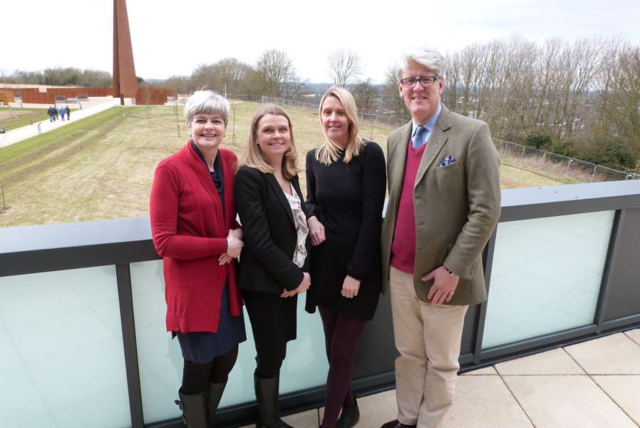 Andrew Norman pictured at the International Bomber Command'Centre in Lincoln with EETR Lincolnshire partners (from left) Sally Porter,'North Kesteven District Council, Lydia Rusling, Visit Lincoln, and Sally'Osgodby, West Lindsey District Council