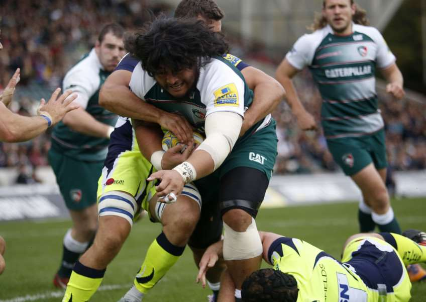 Logo Mulipola carries the ball for Leicester Tigers against Sale. Photo: Tiger Images EMN-151013-112531001