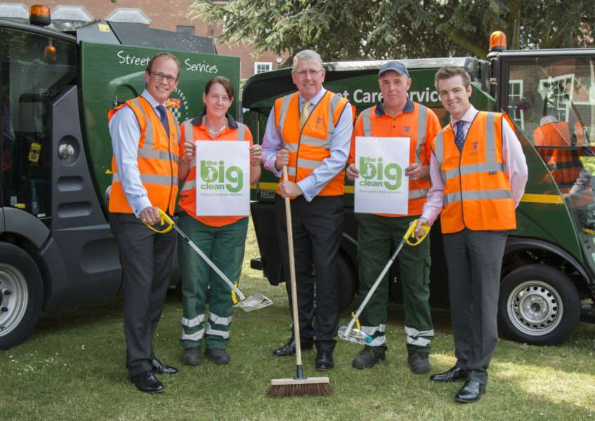 Ready for South Kesteven District Council's Big Clean are, from left, Leader of the Council Matthew Lee, Sandy Gray, Cabinet Member for the Environment Coun Dr Peter Moseley, Rob King and Deputy Council Leader Coun Kelham Cooke. Photo supplied by South Kesteven District Council.