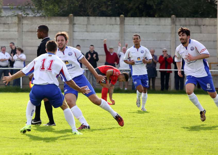 Tom Lorraine celebrates after scoring AFC Rushden & Diamonds' winner against Aylesbury last weekend