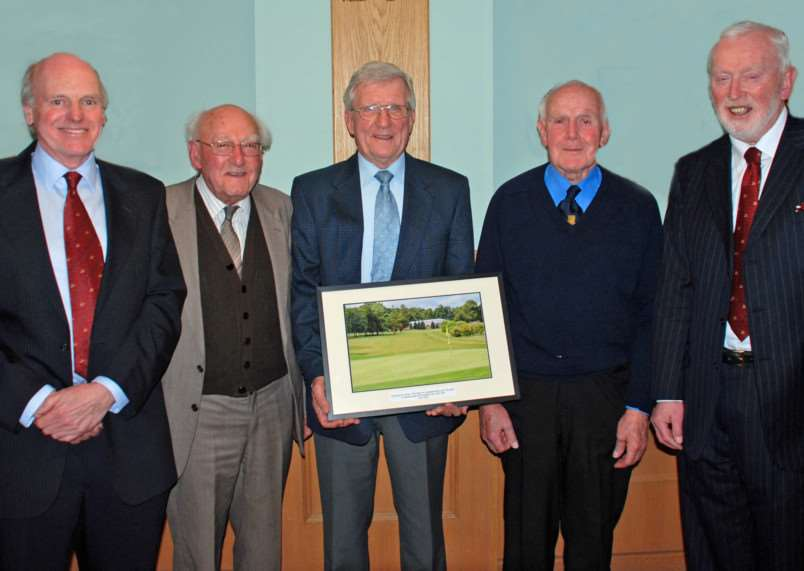 50 year awards 2015. The 3 Burghley Park Golf Club members who received 50 year membership awards last week. Left to right ' Richard Cook (Club Captain), Terry Baxter, Brian Plowright, Terry Burrows, Peter Beeke (Club Chairman). EMN-151102-154936001