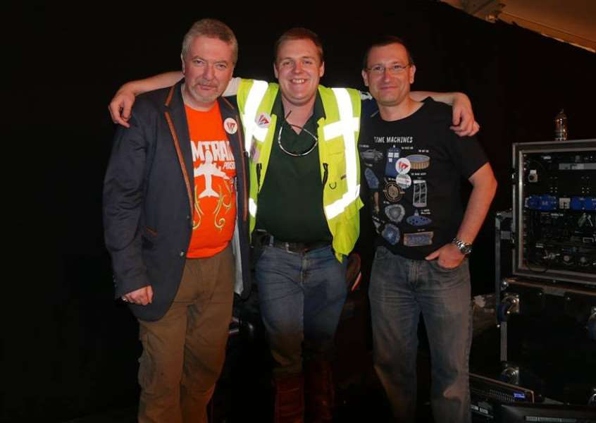 Hereward Television station director Alex Geairns, technical director Nik Fox and camera supervisior David Johnson.