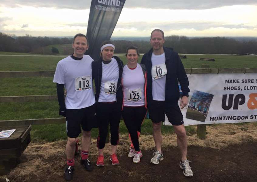 From left fund-raisers Paul Phillips, Charlotte Crake, Amy Roberts and Tom Bardwell.